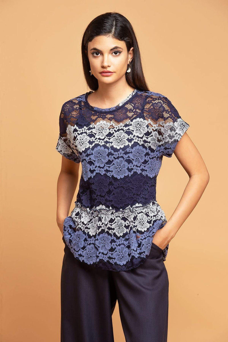 Eva Franco Top Peplum Top in Blue Stripe Lace