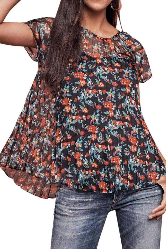 Eva Franco Top Pleated Top in Multi Floral