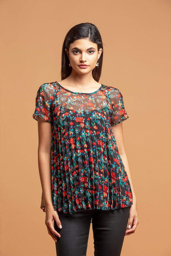 Pleated Top - Multi Floral - Eva Franco