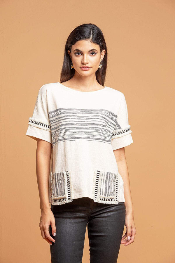 Pocket T-Shirt - B&W Stripe - Eva Franco