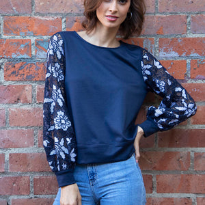 Rios Top in Florence Navy Lace