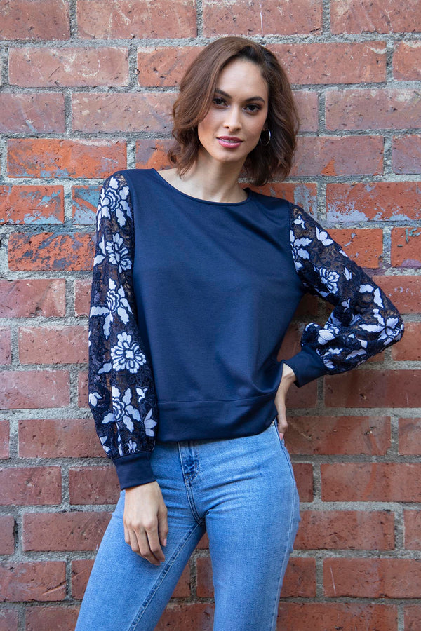 Eva Franco Top Rios Top in Florence Navy Lace