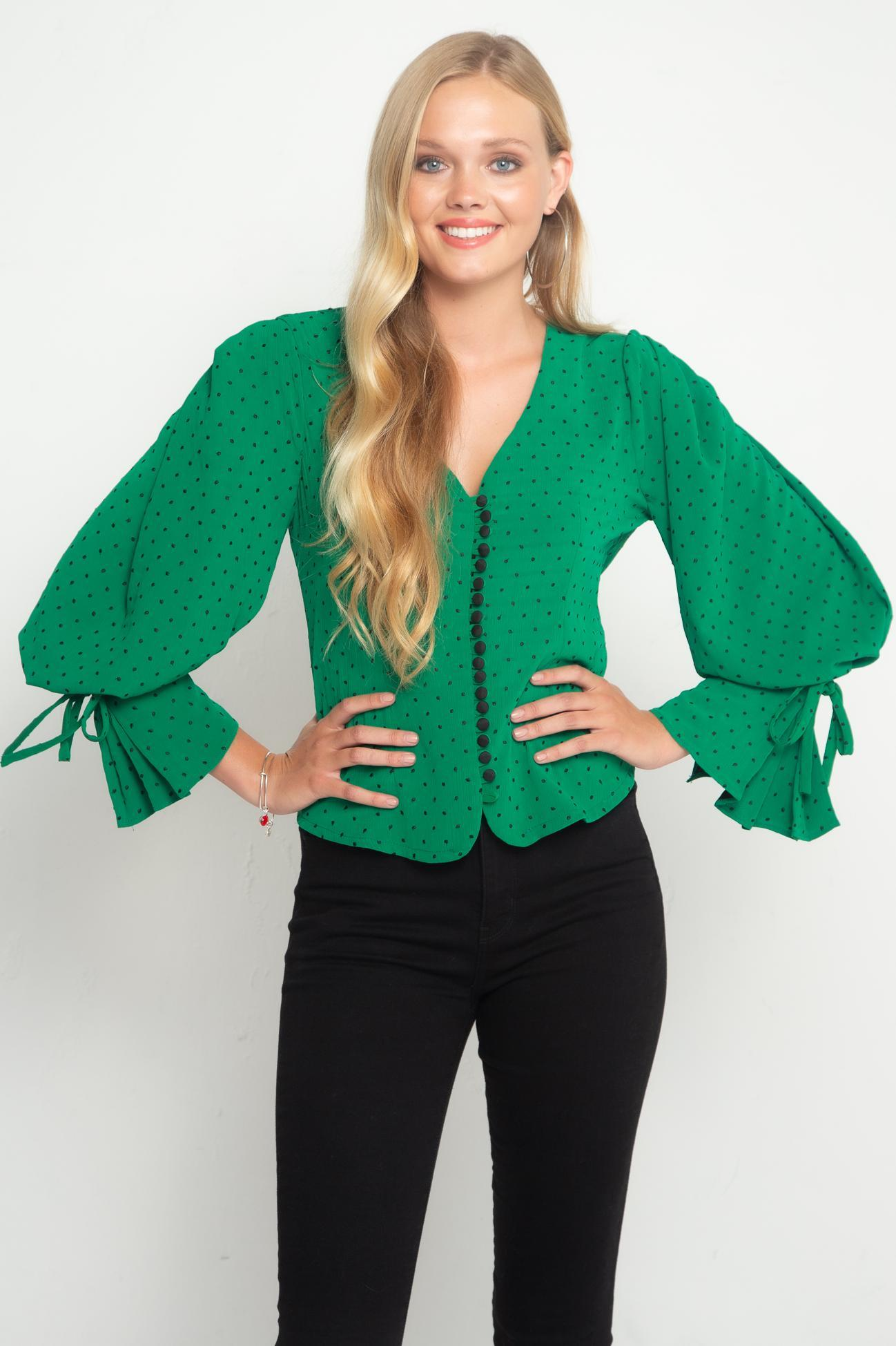Eva Franco Top Rose Blouse- Envy Dot