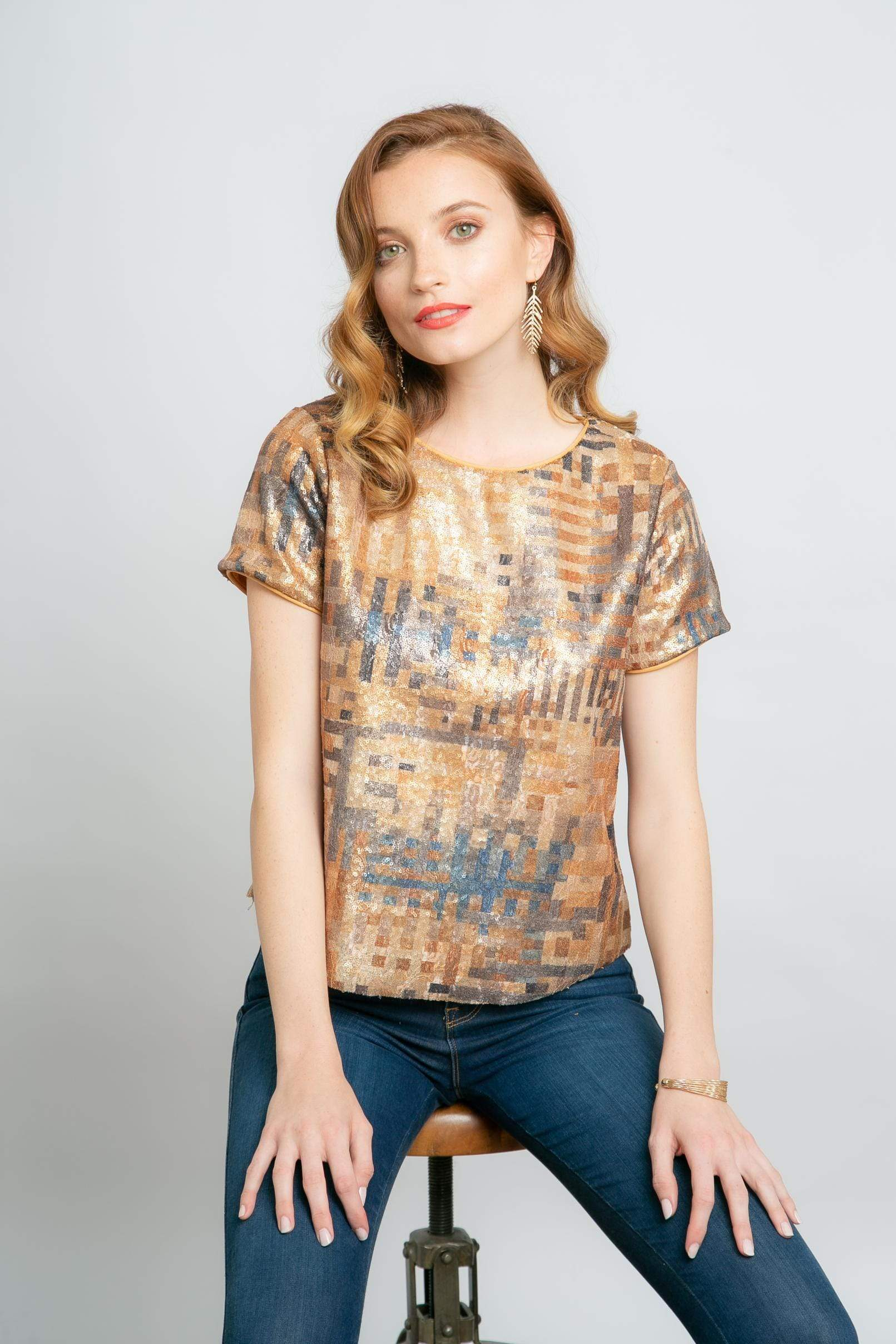 Eva Franco Top Rosita Top in Gold Dust