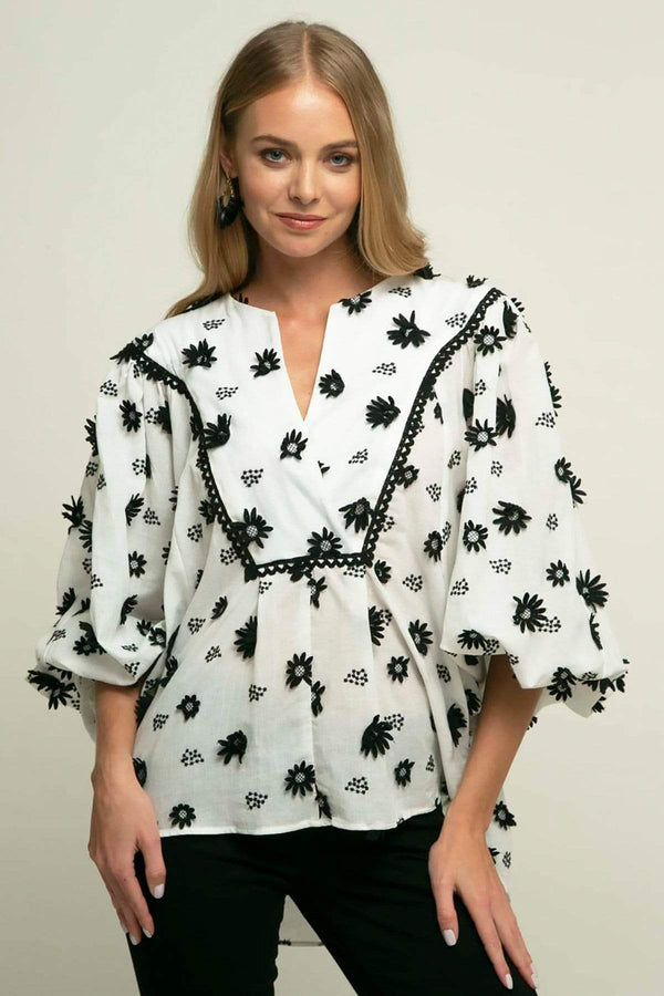 Roxy Blouse - Black Forest - Eva Franco