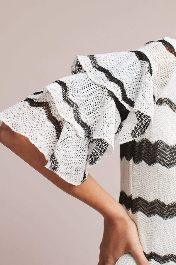 Samba Top - B&W Chevron Stripe - Eva Franco