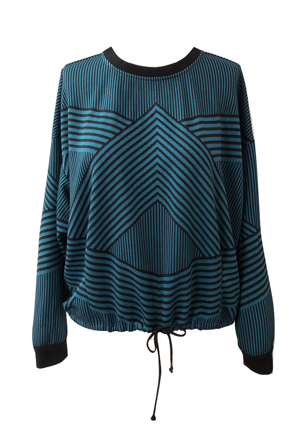 Teal and Black Stripe Geo Sweatshirt  Top - Eva Franco