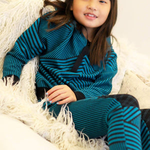 Teal and Black Stripe Brit Wit  Sweatshirt Top - Girls