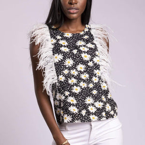 Vera Top with  Ostrich Feathers and Daisies - Tunisia  PRE-ORDER