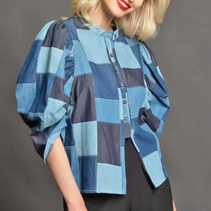 Victoria Top - Denim Patchwork