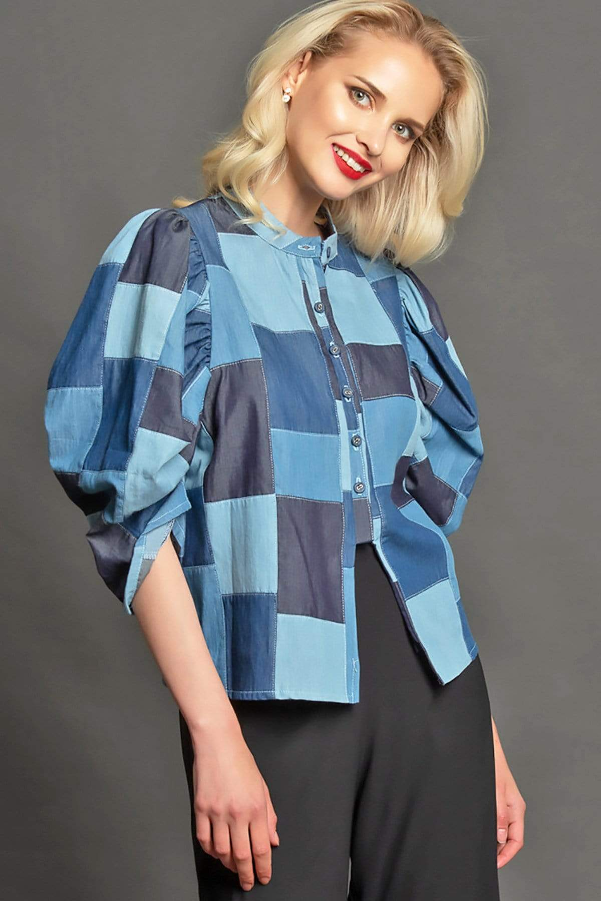 Eva Franco Top Victoria Top - Denim Patchwork