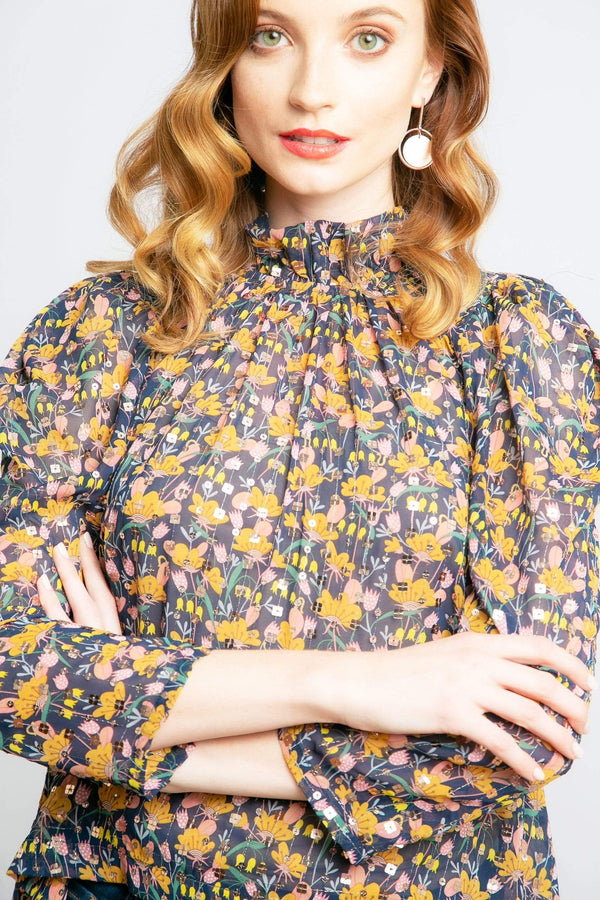 Eva Franco Top Watson Chiffon Blouse in Dreamland Tulip