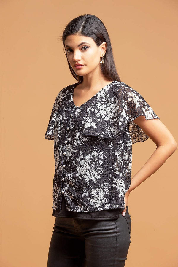 Willow Floral Top - B&W Lace Print - Eva Franco