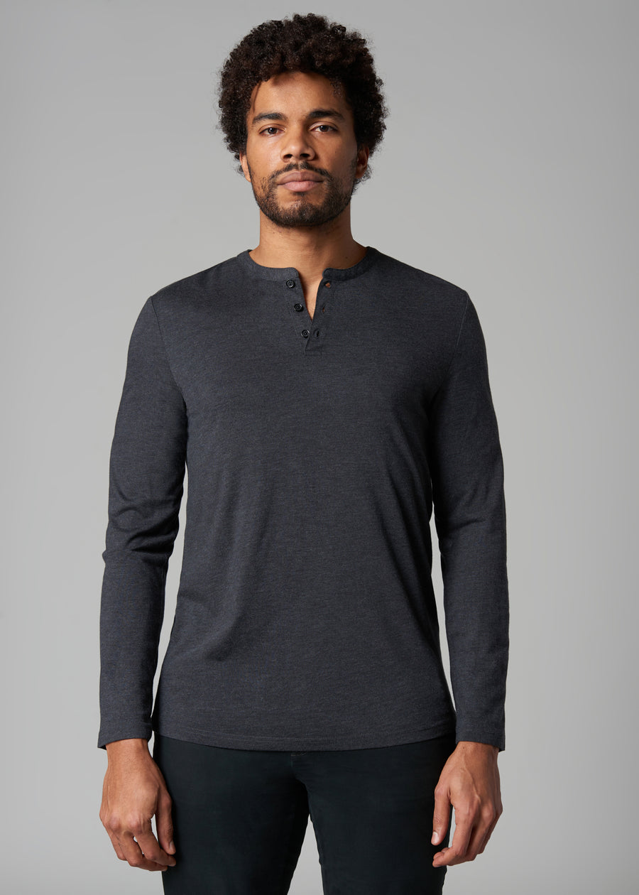 Noah Black Lightweight Henley Top