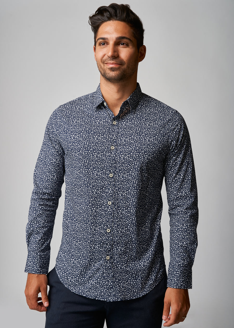 Ryan Navy Ditsy Floral Shirt