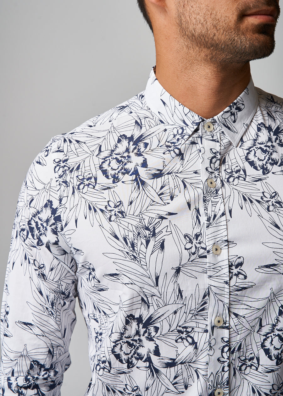 Ryan White/Navy Floral Shirt