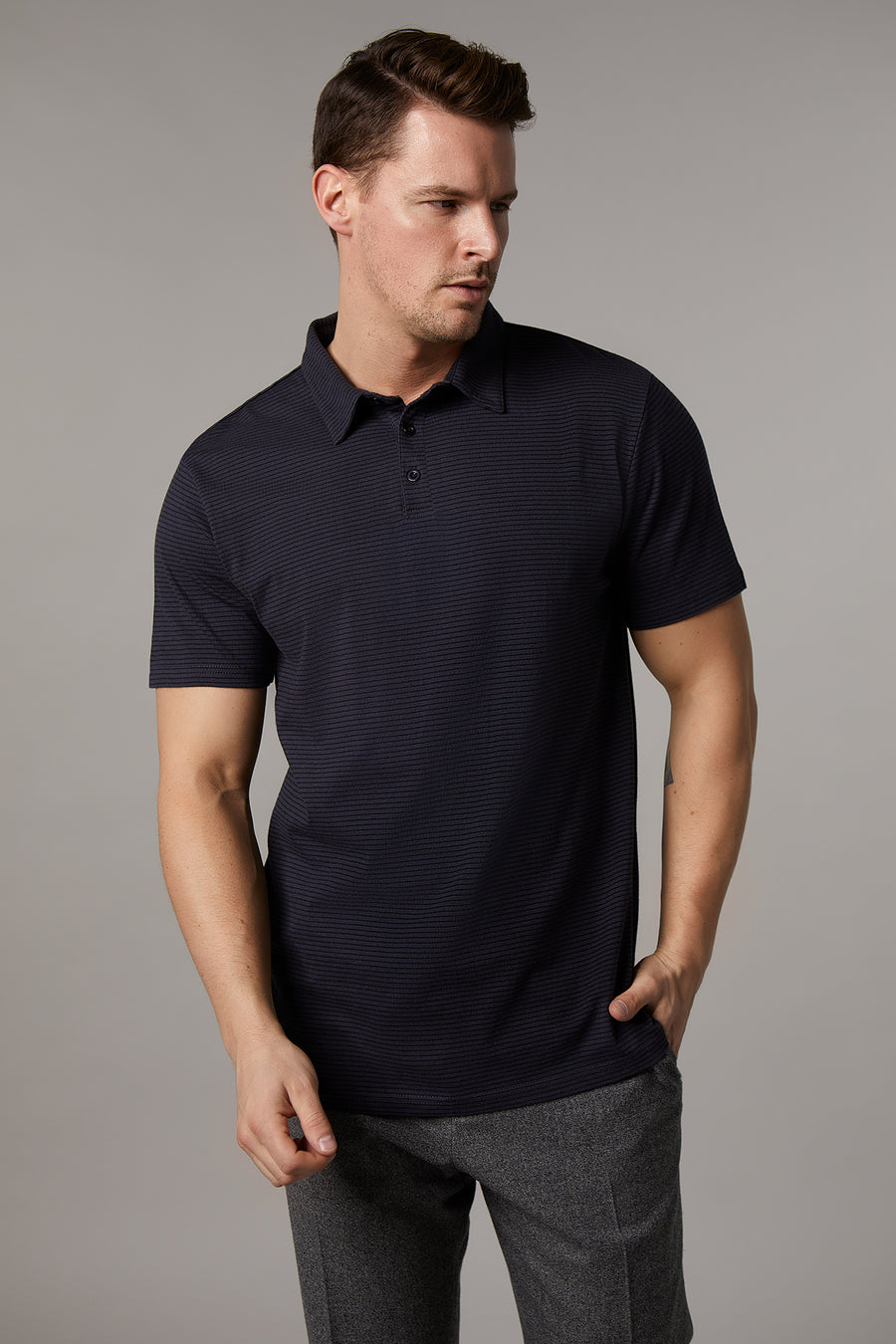 Kyle Cotton Black/Grey Polo