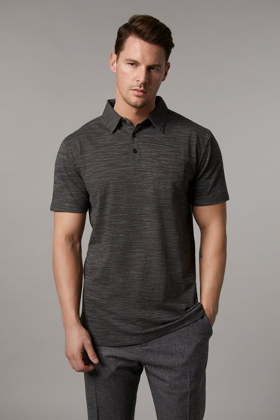 Johnny Cotton Melange Khaki Polo