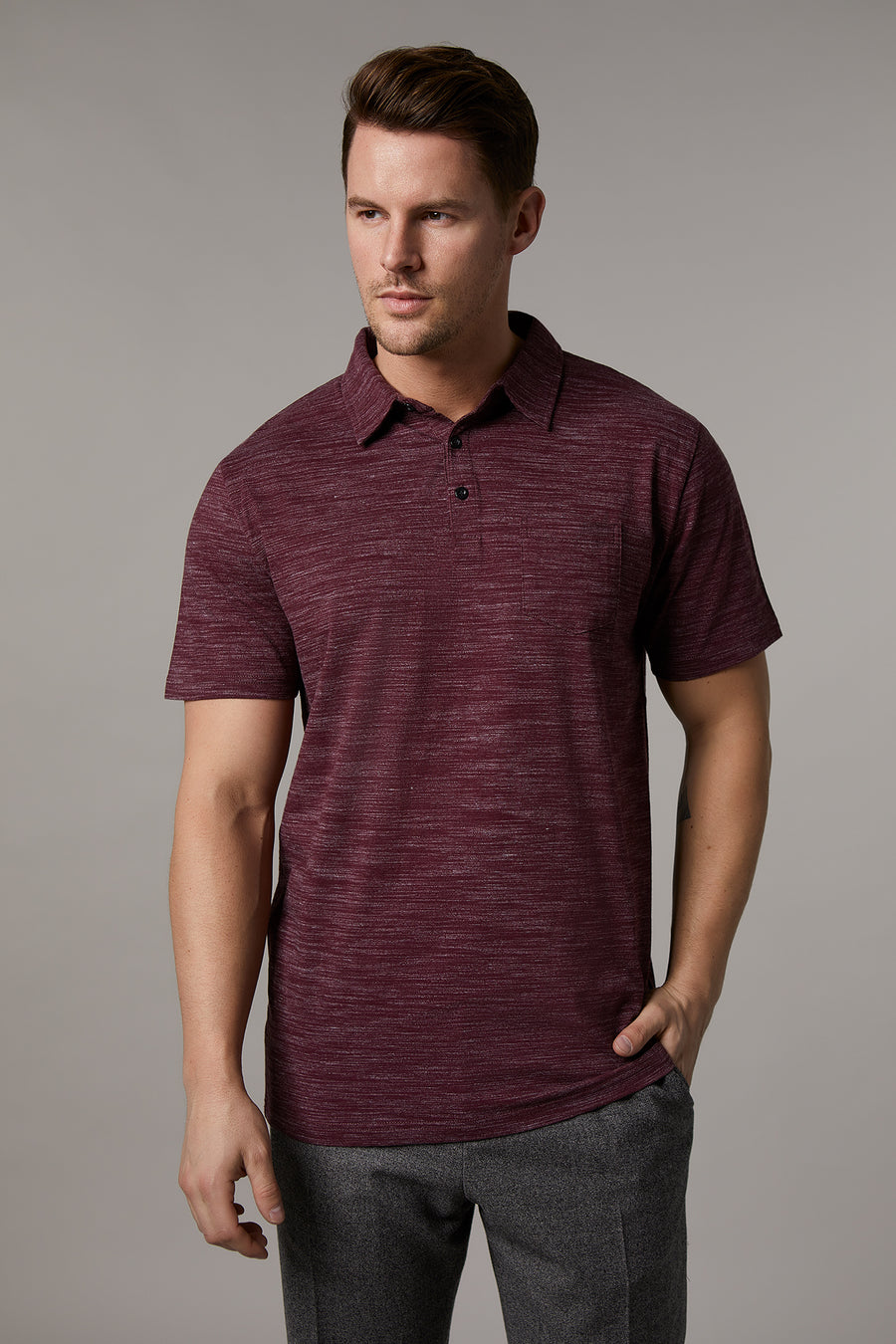 Johnny Cotton Melange Wine Polo