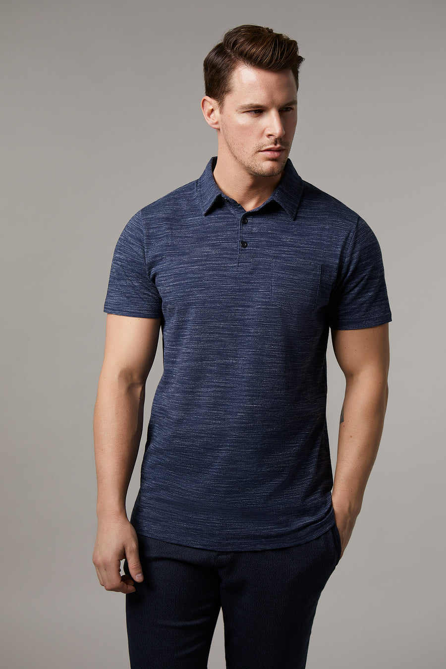Johnny Cotton Melange Navy Polo