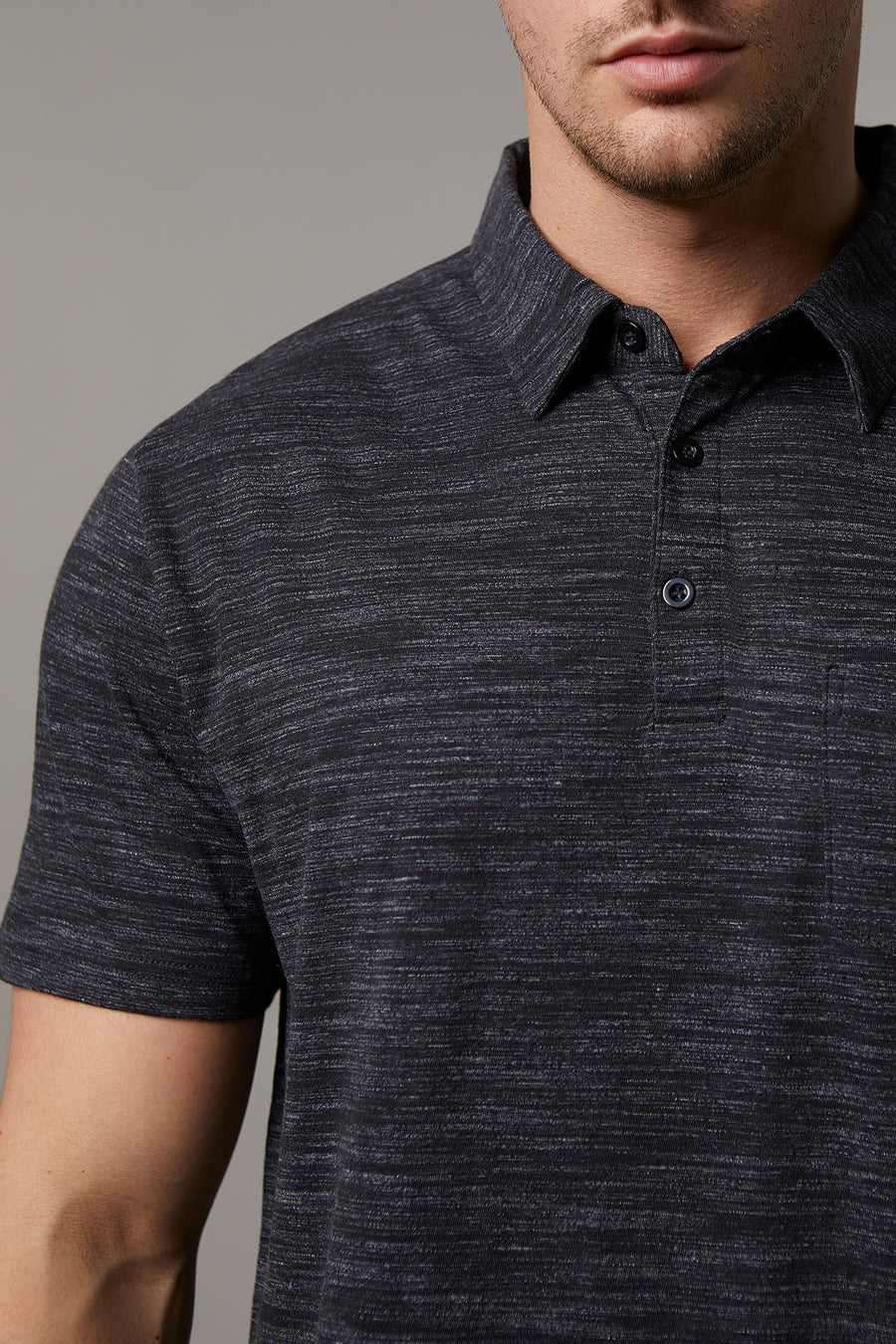 Johnny Cotton Melange Charcoal Polo