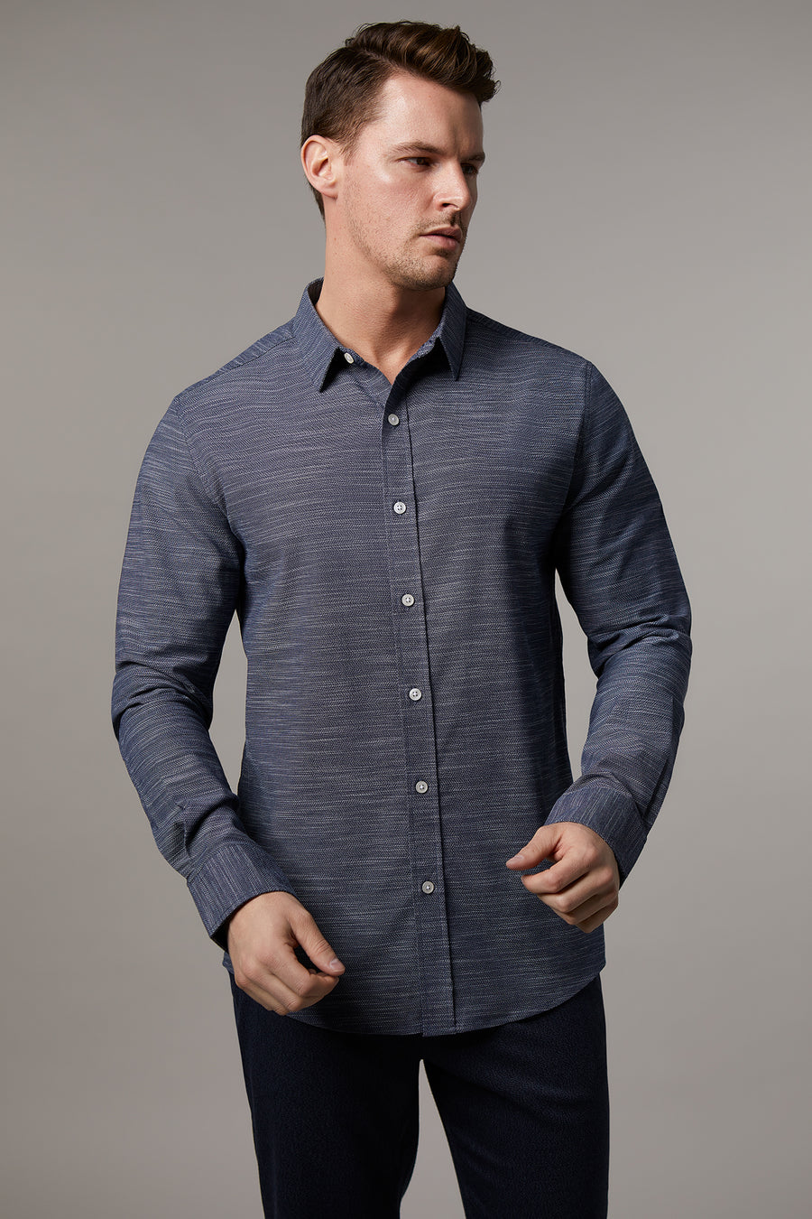 Ryan Navy Melange Shirt