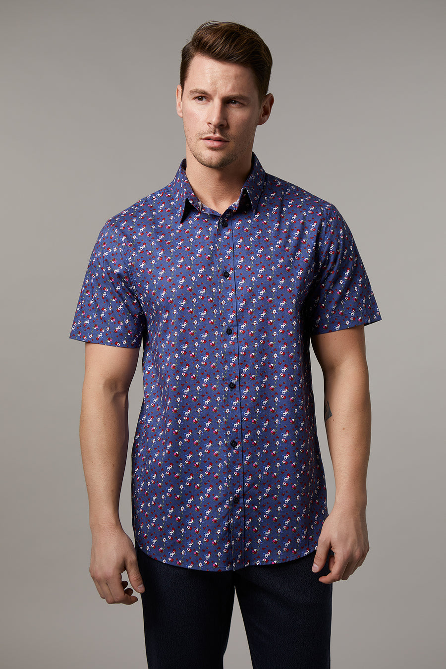 Andrew Cotton Stretch Small Floral Shirt