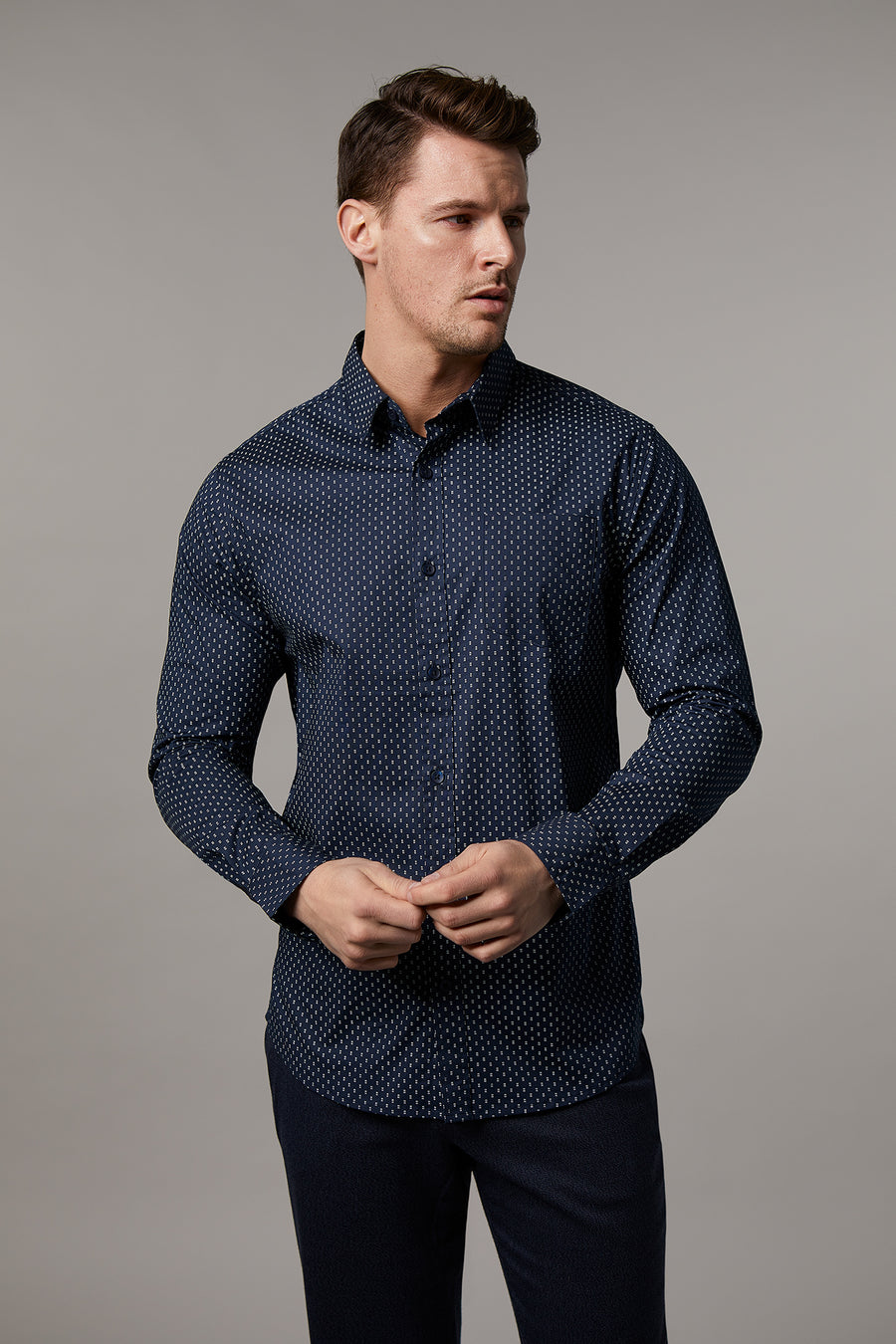 Ryan Navy Geo Printed Shirt