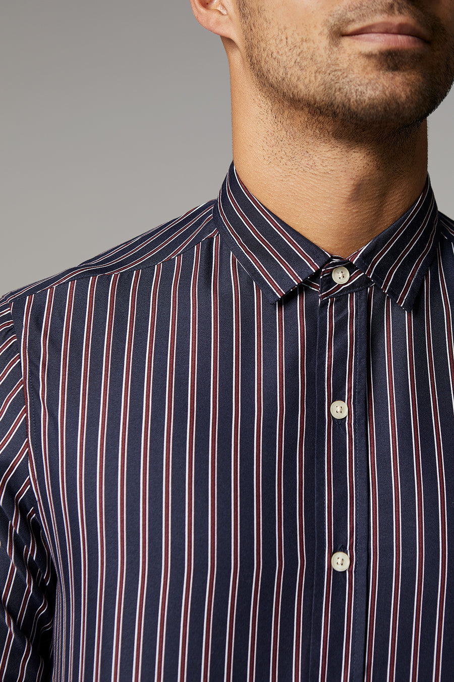 Ryan Navy/Burgundy Stripe Shirt