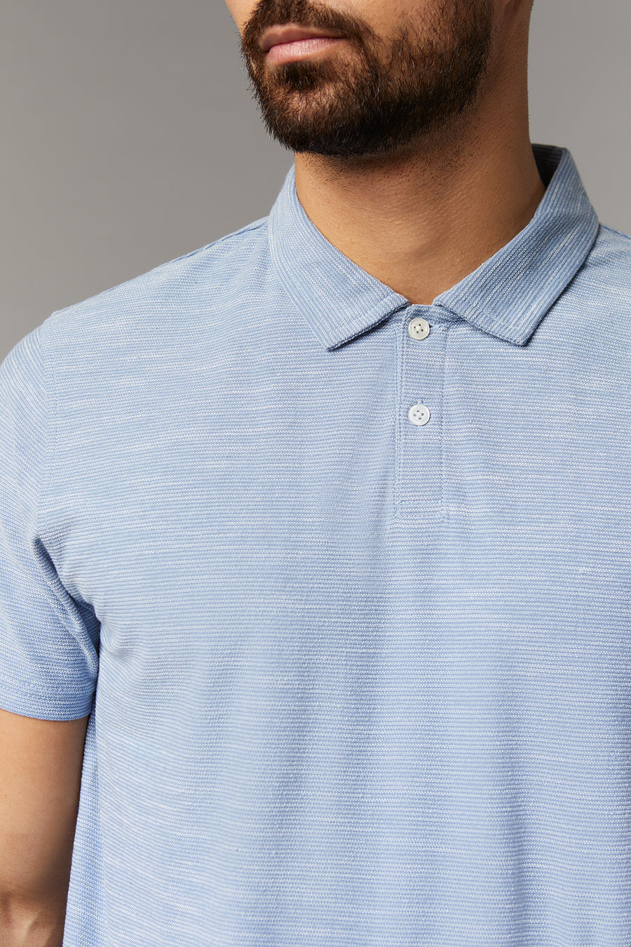 Mike LT Blue Short Sleeve Knit Polo