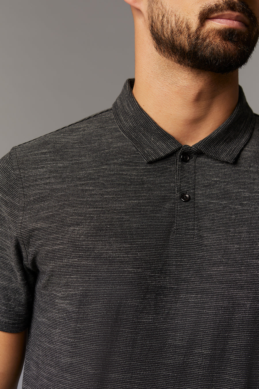 Mike Charcoal Short Sleeve Knit Polo