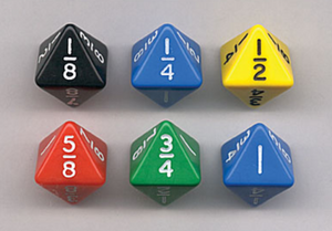 Fraction Dice (8-Sided, Set of 6)