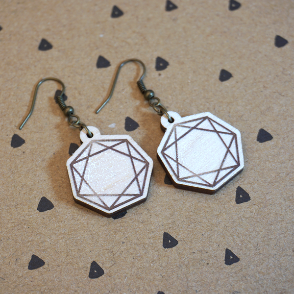 Heptagram - Wooden Earrings - Atelier Perséphone : bijoux, accessoires et papeterie