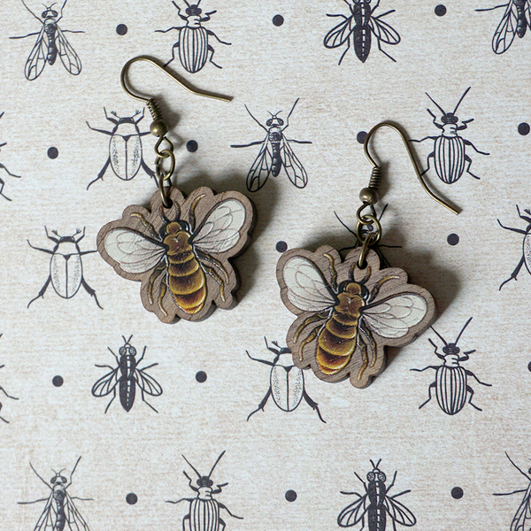 Bee workers - Wooden Earrings - Atelier Perséphone : bijoux, accessoires et papeterie