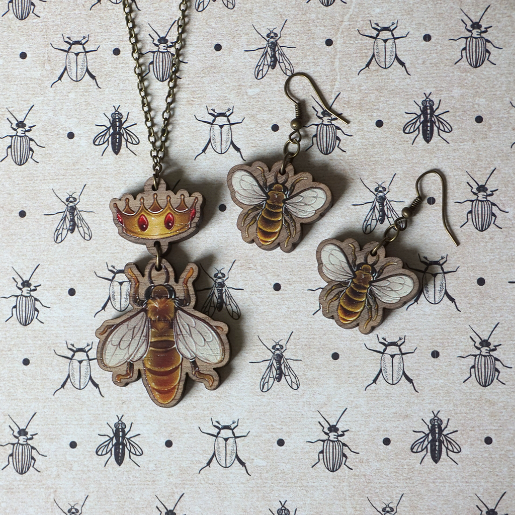 Bee workers and their Queen - Set of Jewels - Atelier Perséphone : bijoux, accessoires et papeterie