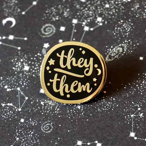 They/Them - Enamel Pin (Starry Pronouns) - Atelier Perséphone : bijoux, accessoires et papeterie