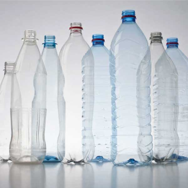 Group of plastic water bottles