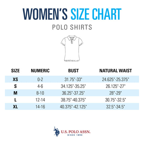 Women's Polo Shirt Size Chart