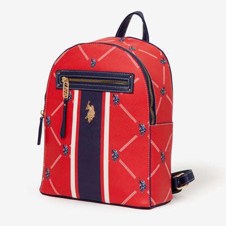 Women's red signature backpack.