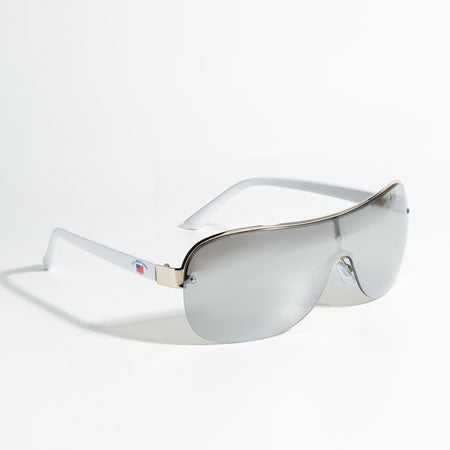 Man wide shield sunglasses.