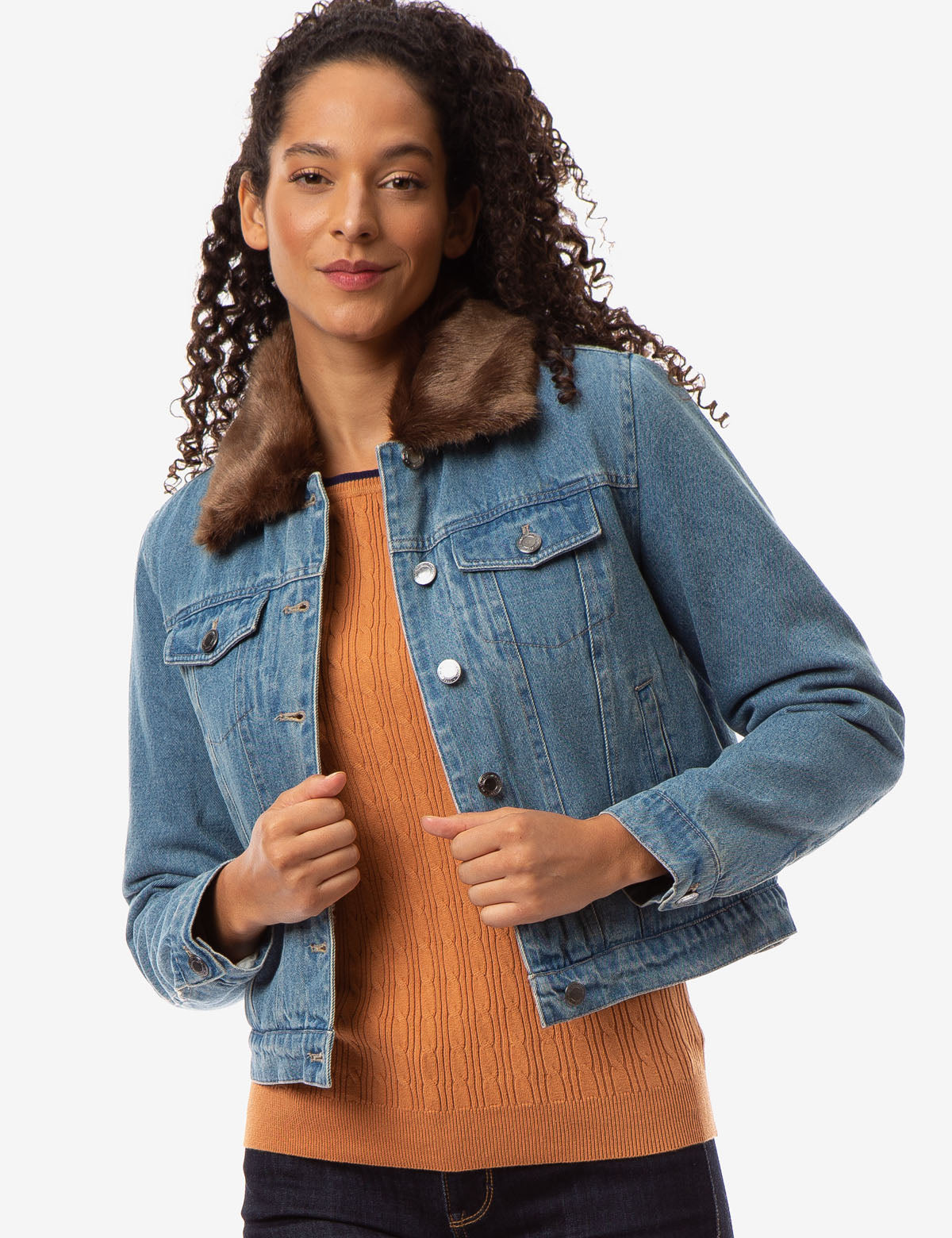 FAUX FUR COLLAR DENIM JACKET - U.S. Polo Assn.