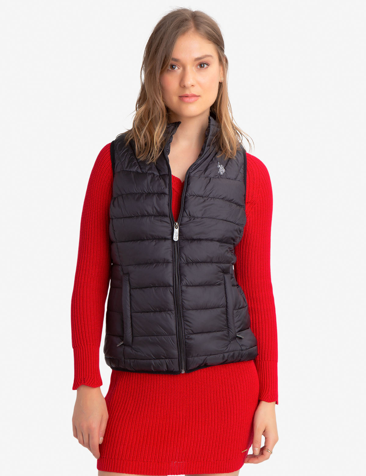 CHEVRON PUFFER VEST WITH SIDE POCKETS