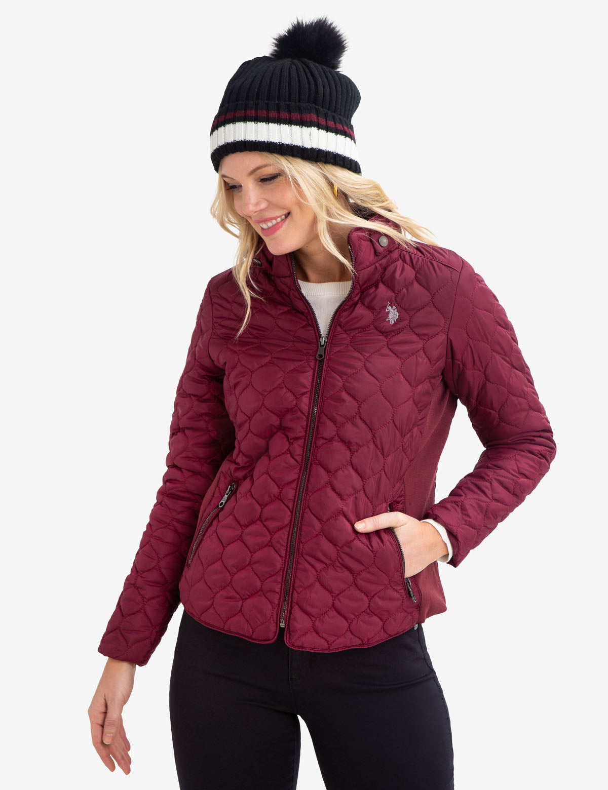 QUILTED SIDE KNIT JACKET - U.S. Polo Assn.
