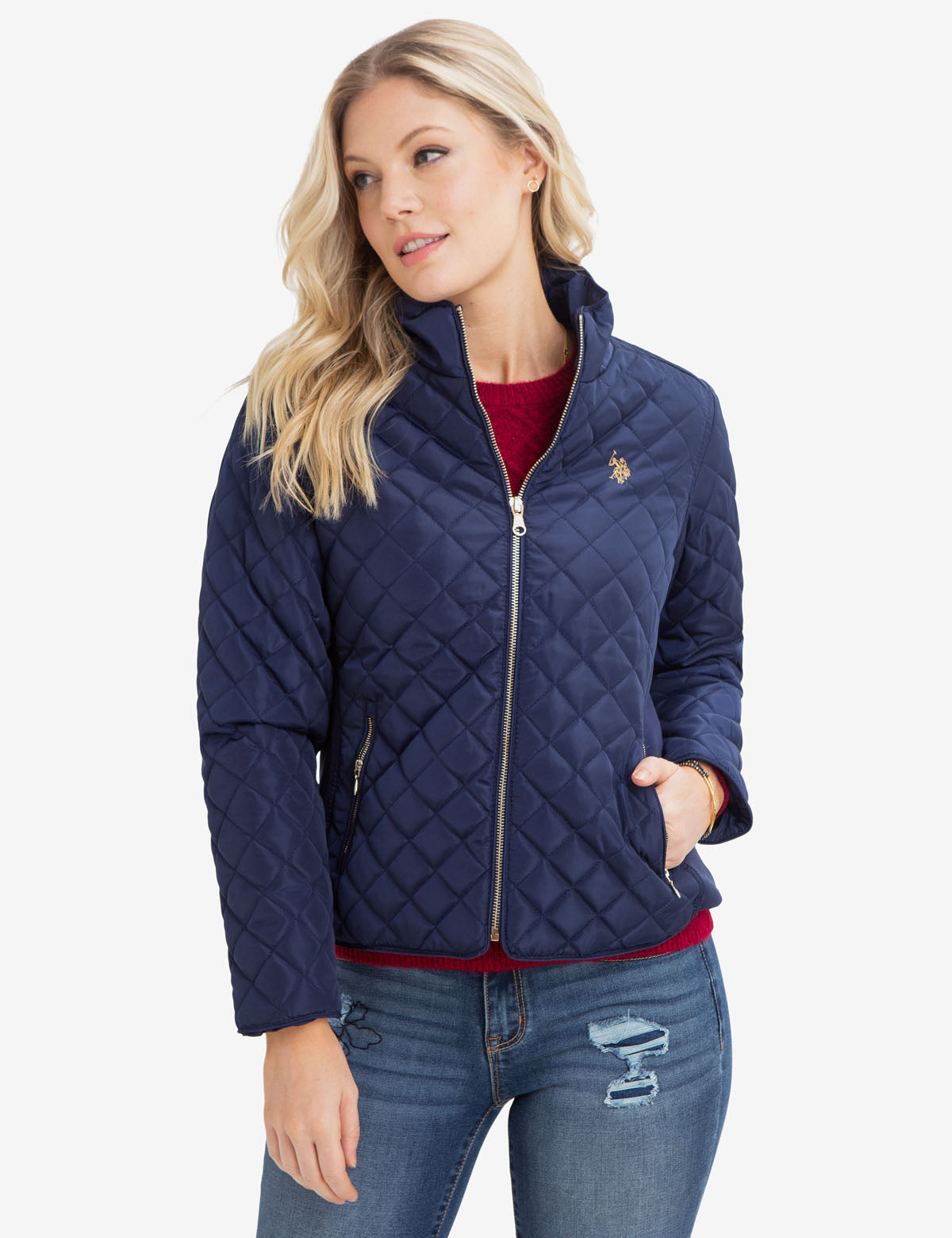 DIAMOND QUILTED SIDE KNIT JACKET
