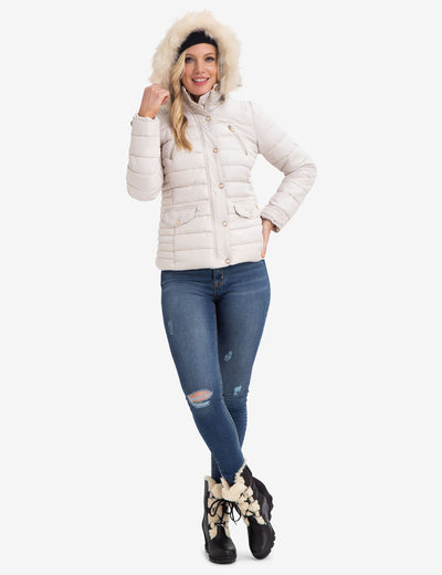 FUR HOODED PUFFER COAT - U.S. Polo Assn.