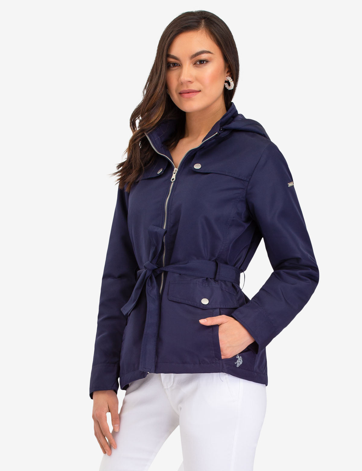 HOODED JACKET WITH BELT - U.S. Polo Assn.