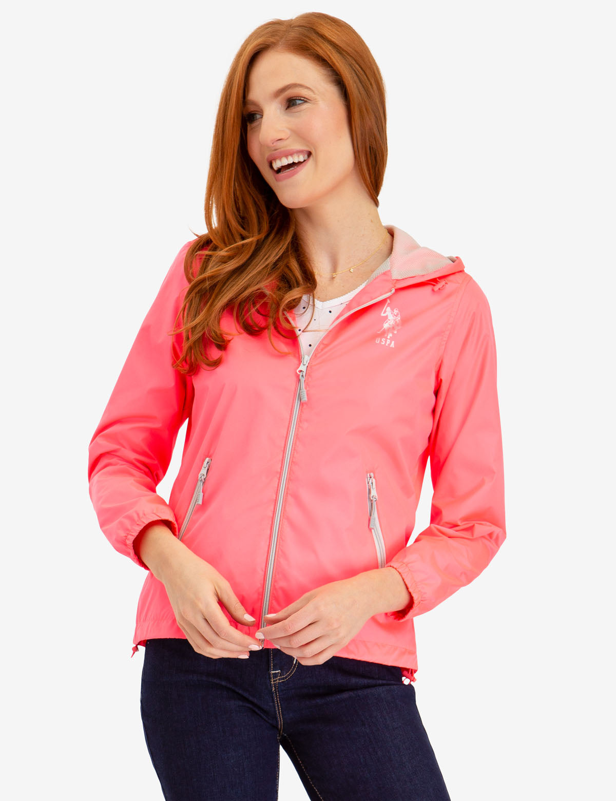 NEON HOODED WINDBREAKER - U.S. Polo Assn.