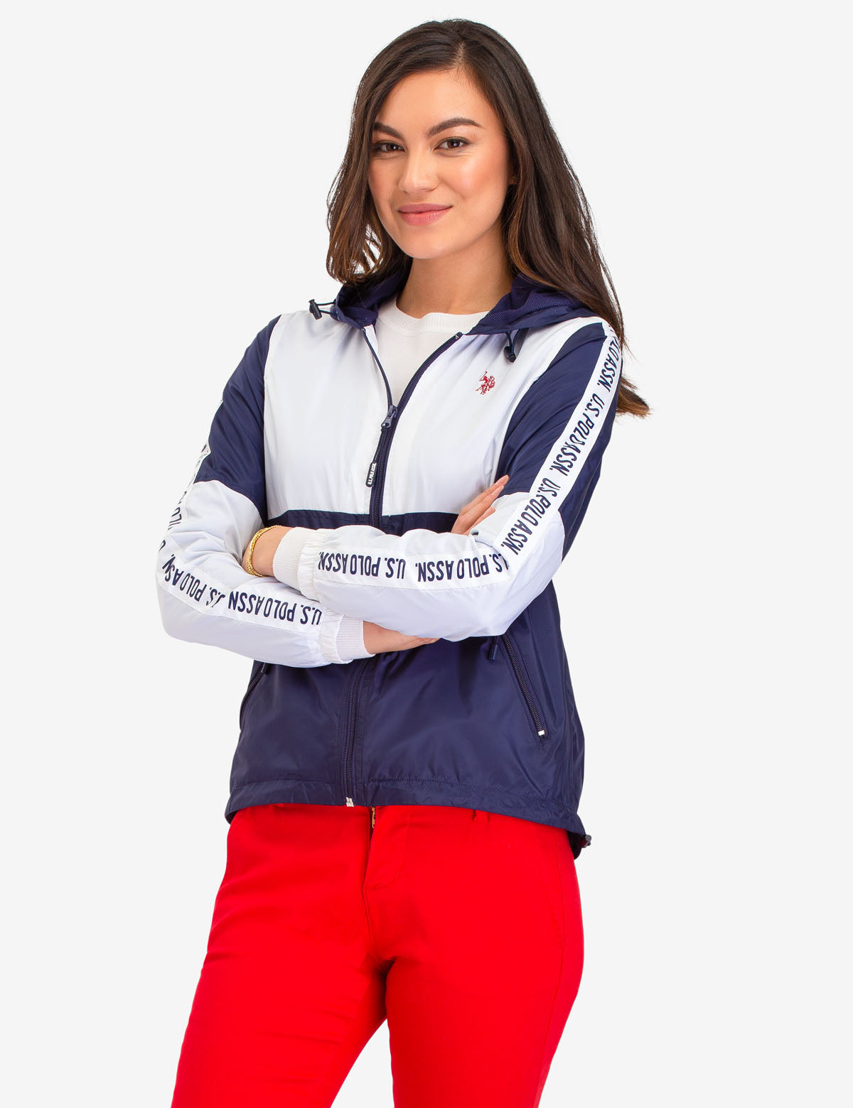 USPA SIDE TAPING HOODED WINDBREAKER - U.S. Polo Assn.