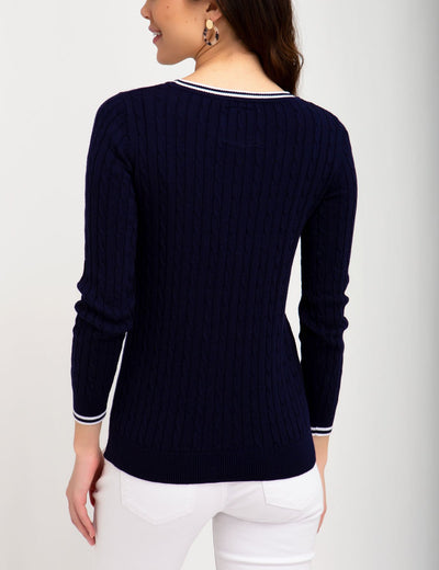 TIPPED CABLE CREW NECK SWEATER