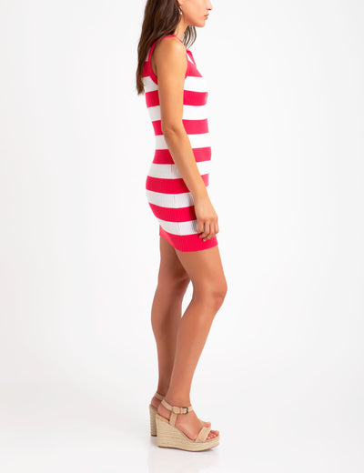 SLEEVELESS RUGBY STRIPED SWEATER DRESS